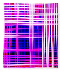 lines and squares in purple Color Waves - PL414 Fleece Blanket