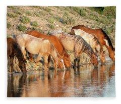 Lineup At The Pond-- Wild Horses Fleece Blanket