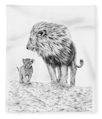 Lion And Cub Fleece Blanket