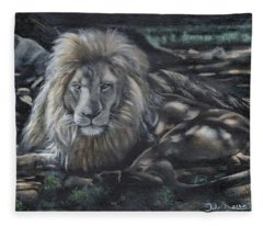 Lion In Dappled Shade Fleece Blanket