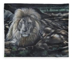 Lion In Dappled Shade Fleece Blanket
