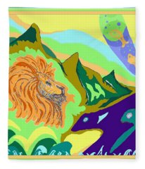 Lion In The Mountain Fleece Blanket