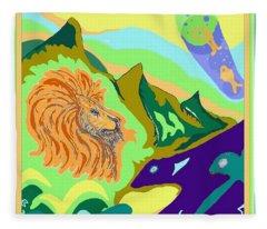 Lion In The Mountain Fleece Blanket