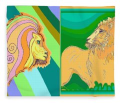 Lion Pair Cool Fleece Blanket
