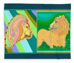 Lion Pair Cool Fleece Blanket