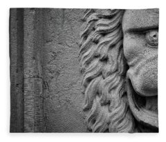 Lion Statue Portrait Fleece Blanket