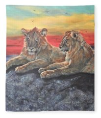 Lion Sunset Fleece Blanket