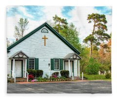 Little Church In The Pines Fleece Blanket