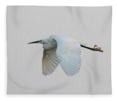 Little Egret Evening Flght Fleece Blanket