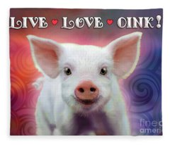 Live Love Oink Fleece Blanket
