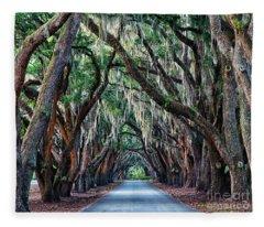 Live Oaks Spanish Moss Hilton Head Island South Carolina Fleece Blanket