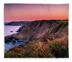 Lizard Point Sunset - Cornwall Fleece Blanket