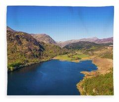 Llyn Dinas, Snowdonia From The Air Fleece Blanket