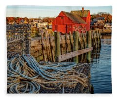 Lobster Traps And Line At Motif #1 Fleece Blanket