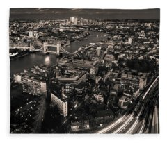 Fleece Blanket featuring the photograph London At Night by Chris Cousins
