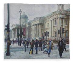 London National Gallery In The Winter Fleece Blanket