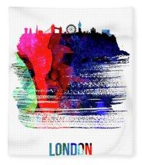 London Skyline Brush Stroke Watercolor   Fleece Blanket