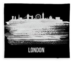 London Skyline Brush Stroke White Fleece Blanket