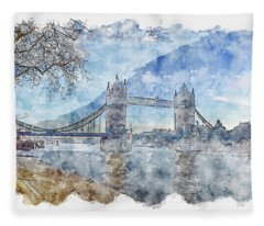 London #watercolor #sketch #london #bridge Fleece Blanket