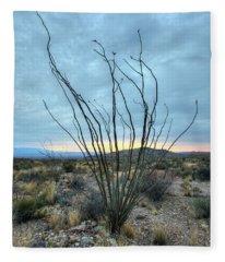 Lone Bush - Sunrise Fleece Blanket
