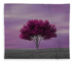 Lonely Tree At Purple Sunset Fleece Blanket