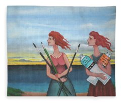 Long Neck Sisters Take A Painting Class At Longnook Beach Fleece Blanket