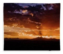Longs Peak Sunset Fleece Blanket