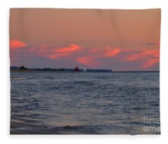 Looking Toward The Holland Lighthouse Fleece Blanket