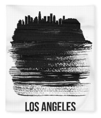 Los Angeles Skyline Brush Stroke Black Fleece Blanket