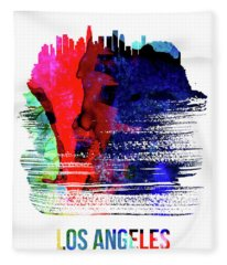 Los Angeles Skyline Brush Stroke Watercolor   Fleece Blanket