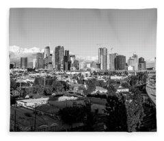 Los Angeles Skyline Looking East 2.9.19 - Black And White Fleece Blanket