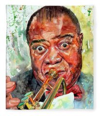 Louis Armstrong Portrait Painting Fleece Blanket