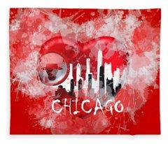 Love Chicago Colors Fleece Blanket