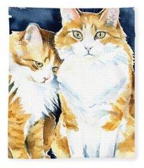 Love Me Meow Cat Painting Fleece Blanket