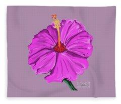 Lovely Pink Hibiscus Fleece Blanket