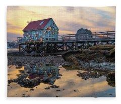 Low Tide Reflections, Badgers Island.  Fleece Blanket