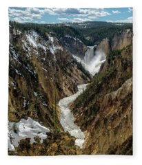 Lower Falls In Yellowstone Fleece Blanket