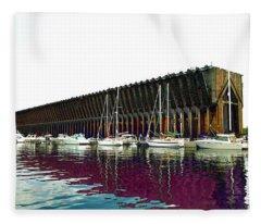 Lower Harbor Ore Dock At Marquette Michigan. Fleece Blanket