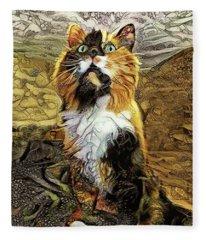Lucky The Calico Cat Fleece Blanket
