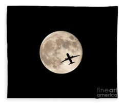 Strawberry Moon And Airliner Fleece Blanket