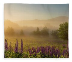 Lupine In The Fog, Sugar Hill, Nh Fleece Blanket