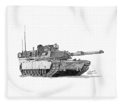M1a1 A Company Commander Tank Fleece Blanket