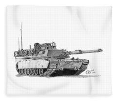 M1a1 C Company 1st Platoon Commander Fleece Blanket