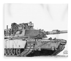 M1a1 C Company Commander Tank Fleece Blanket