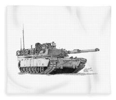 M1a1 C Company Xo Tank Fleece Blanket