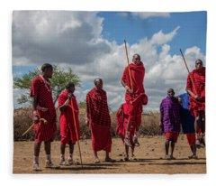 Maasai Adumu Fleece Blanket