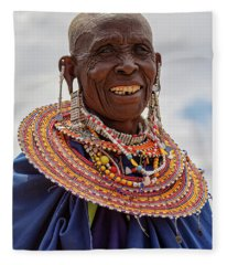 Maasai Woman In Tanzania Fleece Blanket