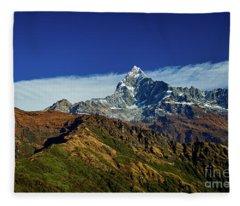Machapuchare Mountain Fishtail In Himalayas Range Nepal Fleece Blanket