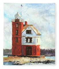 Mackinac Island Lighthouse Fleece Blanket