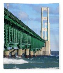 Mackinac Bridge And Waves Fleece Blanket